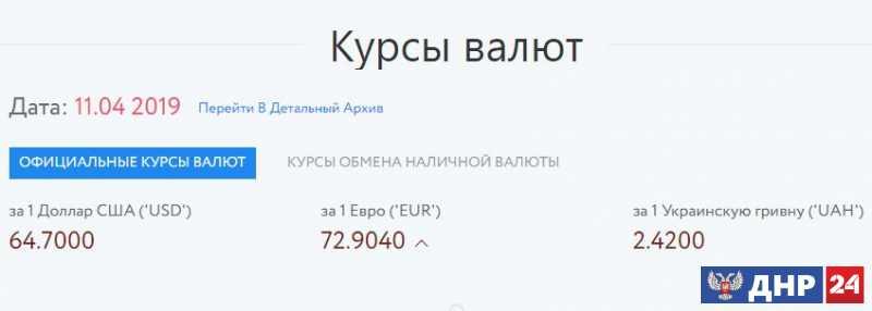 Официальные курсы валют на 11.04.2019