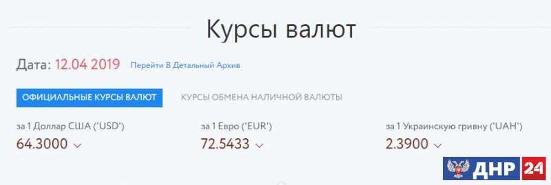 Официальные курсы валют на 12.04.2019