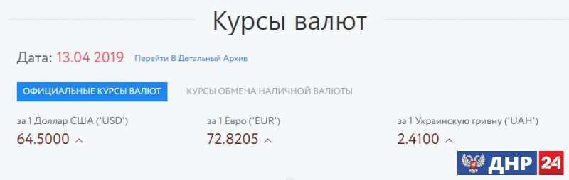 Официальные курсы валют на 13.04.2019
