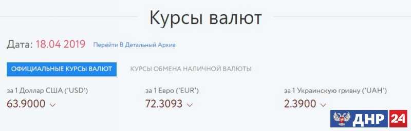 Официальные курсы валют на 18.04.2019