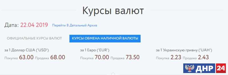 Официальные курсы валют на 22.04.2019