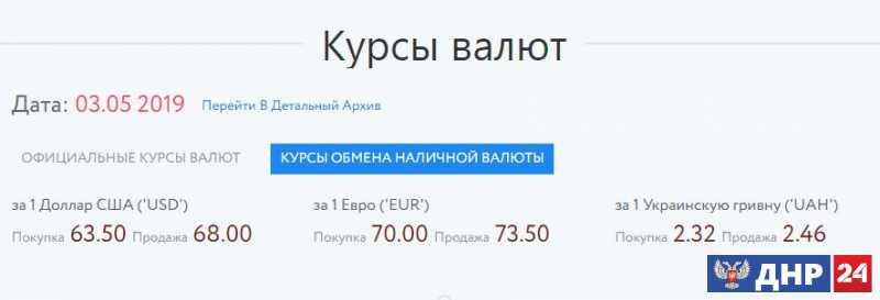 Официальные курсы валют на 03.05.2019