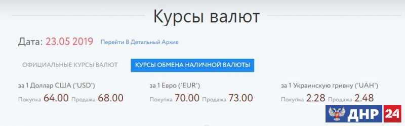 Официальные курсы валют на 23.05.2019
