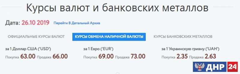 Официальные курсы валют на 26.10.2019