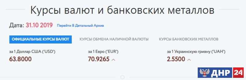 Официальные курсы валют на 31.10.2019